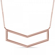 V-Shaped Chevron Bar Pendant Necklace Plain Metal 14k Rose Gold