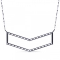 V-Shaped Chevron Bar Pendant Necklace Plain Metal 14k White Gold