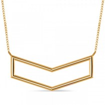 V-Shaped Chevron Bar Pendant Necklace Plain Metal 14k Yellow Gold