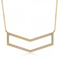 Diamond V-Shaped Chevron Bar Pendant Necklace 14k Yellow Gold (0.50ct)