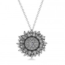 Sunflower Diamond Pendant Necklace 14k White Gold (0.19ct)
