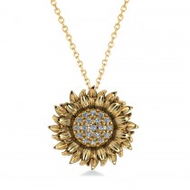 Sunflower Diamond Pendant Necklace 14k Yellow Gold (0.19ct)