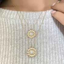 Sunflower Diamond Pendant Necklace 14k Yellow Gold (0.19ct)|escape