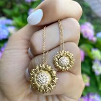 Sunflower Diamond Pendant Necklace 14k Yellow Gold (0.19ct)