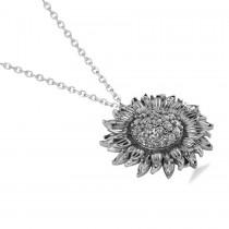 Sunflower Diamond Pendant Necklace 18k White Gold (0.19ct)