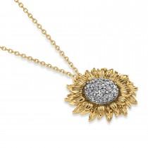 Sunflower Diamond Pendant Necklace 18k Two-Tone Gold (0.19ct)