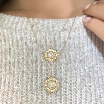 Sunflower Diamond Pendant Necklace 18k Yellow Gold (0.19ct)