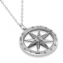 Compass Necklace Pendant Diamond Accented 14k White Gold (0.19ct)|escape
