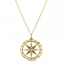Compass Necklace Pendant Diamond Accented 14k Yellow Gold (0.19ct)