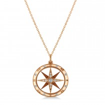 Compass Necklace Pendant Diamond Accented 18k Rose Gold (0.19ct)