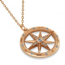 Compass Necklace Pendant Diamond Accented 18k Rose Gold (0.19ct)|escape