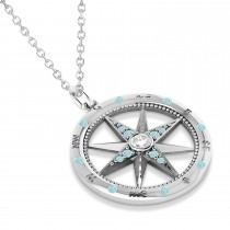 Compass Pendant Aquamarine & Diamond Accented 14k White Gold (0.19ct)