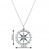Compass Pendant Aquamarine & Diamond Accented 14k White Gold (0.19ct)