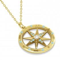 Compass Pendant Aquamarine & Diamond Accented 14k Yellow Gold (0.19ct)