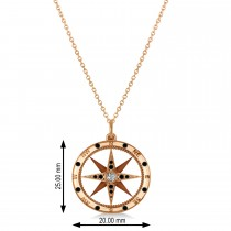 Compass Pendant Black & White Diamond Accented 14k Rose Gold (0.19ct)