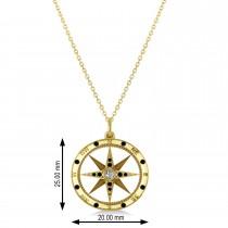 Compass Pendant Black & White Diamond Accented 14k Yellow Gold (0.19ct)