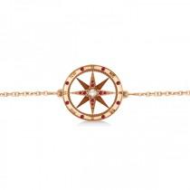 Ruby & Diamond Nautical Compass Bracelet 14k Rose Gold (0.19ct)
