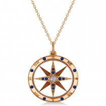 Compass Pendant Blue Sapphire & Diamond Accented 14k Rose Gold (0.19ct)