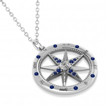 Compass Pendant Blue Sapphire & Diamond Accented 14k White Gold (0.19ct)|escape