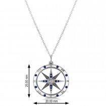 Compass Pendant Blue Sapphire & Diamond Accented 14k White Gold (0.19ct)