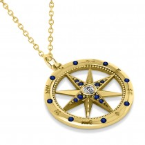 Compass Pendant Blue Sapphire & Diamond Accented 14k Yellow Gold (0.19ct)