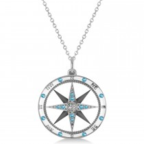 Compass Pendant Blue Topaz & Diamond Accented 14k White Gold (0.19ct)