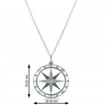 Compass Pendant Blue Topaz & Diamond Accented 14k White Gold (0.19ct)
