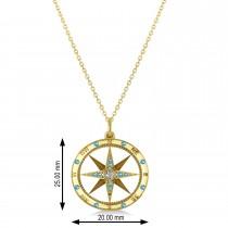 Compass Pendant Blue Topaz & Diamond Accented 14k Yellow Gold (0.19ct)