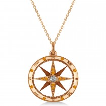 Compass Pendant Citrine & Diamond Accented 14k Rose Gold (0.19ct)