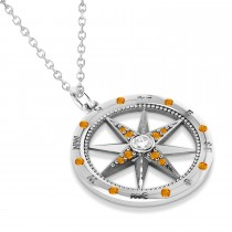 Compass Pendant Citrine & Diamond Accented 14k White Gold (0.19ct)