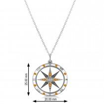 Compass Pendant Citrine & Diamond Accented 14k White Gold (0.19ct)