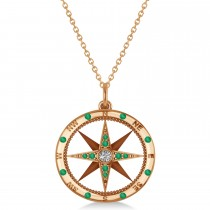 Compass Pendant Emerald & Diamond Accented 14k Rose Gold (0.19ct)