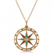 Compass Pendant Emerald & Diamond Accented 14k Rose Gold (0.19ct)