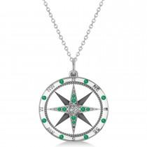 Compass Pendant Emerald & Diamond Accented 14k White Gold (0.19ct)