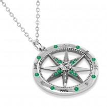 Compass Pendant Emerald & Diamond Accented 14k White Gold (0.19ct)|escape