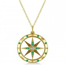 Compass Pendant Emerald & Diamond Accented 14k Yellow Gold (0.19ct)