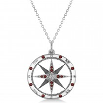 Compass Pendant Garnet & Diamond Accented 14k White Gold (0.19ct)