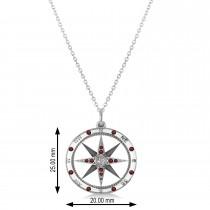 Compass Pendant Garnet & Diamond Accented 14k White Gold (0.19ct)