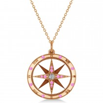 Compass Pendant Pink Sapphire & Diamond Accented 14k Rose Gold (0.19ct)