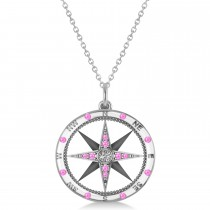Compass Pendant Pink Sapphire & Diamond Accented 14k White Gold (0.19ct)