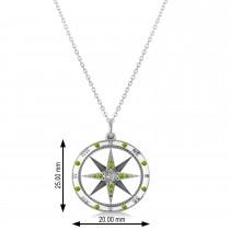 Compass Pendant Peridot & Diamond Accented 14k White Gold (0.19ct)