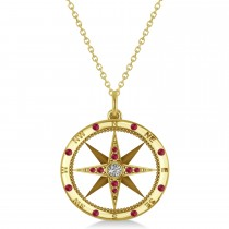 Compass Pendant Ruby & Diamond Accented 14k Yellow Gold (0.19ct)