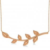 Olive Vine Leaf Necklace Plain Metal 14k Rose Gold