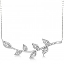 Olive Vine Leaf Necklace Plain Metal 14k White Gold