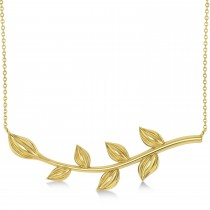 Olive Vine Leaf Necklace Plain Metal 14k Yellow Gold