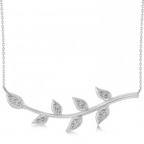 Diamond Olive Vine Leaf Necklace 14k White Gold (0.15ct)