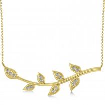 Diamond Olive Vine Leaf Necklace 14k Yellow Gold (0.15ct)