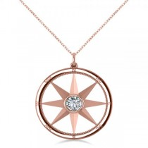 Diamond Nautical Compass Pendant Necklace 14k Rose Gold (0.66ct)