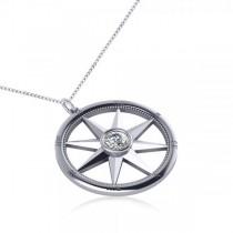 Diamond Nautical Compass Pendant Necklace 14k White Gold (0.66ct)|escape