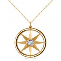 Diamond Nautical Compass Pendant Necklace 14k Yellow Gold (0.66ct)